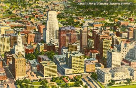 1940 linen postcard aerial view of memphis tennessee