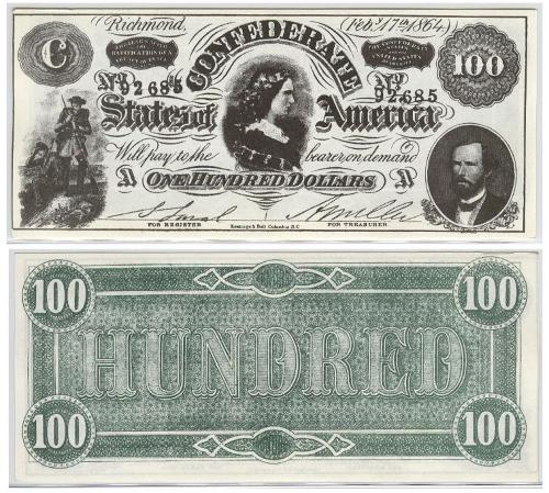confederate states of america movie prop 100 bill ebay