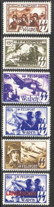 1944 Waffen SS Flemish Legion Feldpost Labels set of 6