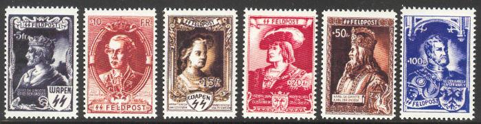 1943 Waffen SS Flemish Legion Emperor Issues set of 6 - Stamps